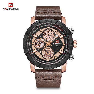 NAVIFORCE 9139 Male Quartz Watch 6 Pointers Week Date Leather Band Wristwatch