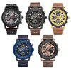 NAVIFORCE 9139 Male Quartz Watch 6 Pointers Week Date Leather Band Wristwatch - ROSE GOLD