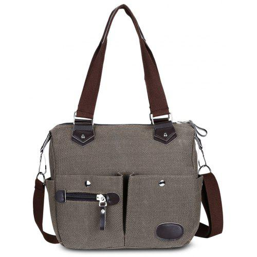 Large Capacity Women Casual Style Canvas Tote Belt Decoration Shoulder Bag  -  12.58 Free Shipping 2a4e3856b5