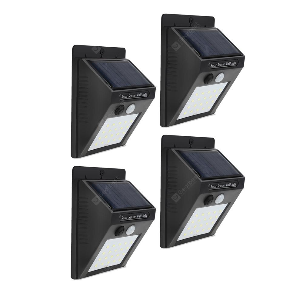 20-LED Wireless Motion Sensor Solar Light Wall Lamp for Corridor Hallway Gate Courtyard - BLACK 4PCS