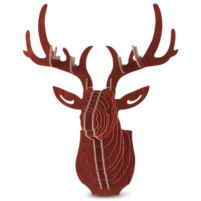 Wooden Elk Head Wall Hanging Art Craft Home Decoration