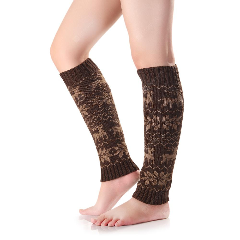 Women Winter Deer Snowflake Printed Knitted Warm Loose Boot Socks