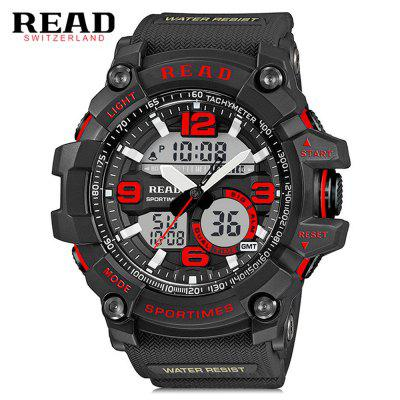 READ R90001 Male Watch Dual Movement Luminous Resin Strap Sports Wristwatch