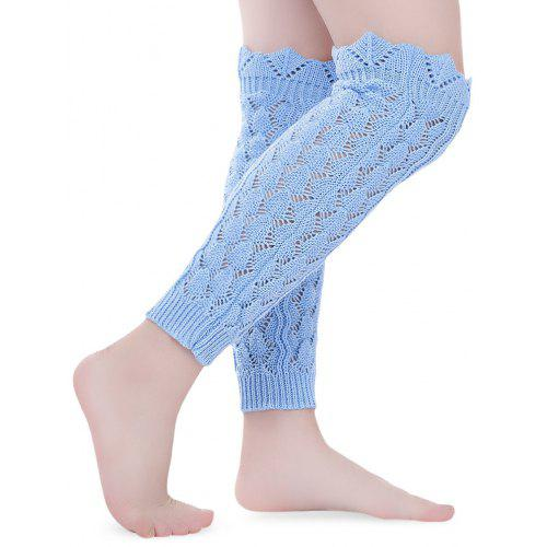 8b953fce841b Openwork Wavy Side Faux Lace Knit Wool Warm Leg Sleeve Pile Socks ...