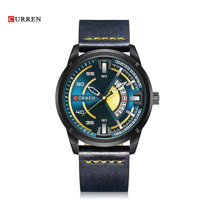 Curren 8298 Male Quartz Watch Calendar Stainless Steel Knit Band Wristwatch