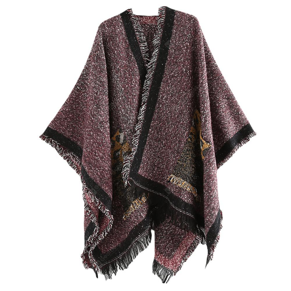 Abstract Geometric Cashmere Feel Scarves with Tassels for Men Women