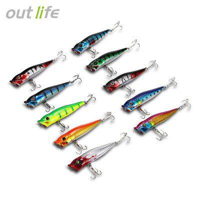 Outlife 10PCS Fishing Lures Hard ABS Popper Baits with Hooks and Box