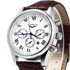 GUANQIN Men Calendar Quzrtz Watch - BROWN WHITE WHITE