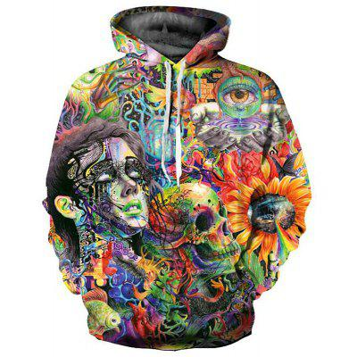 Plus Size Men Casual 3D Print Skull Sweatshirt Hoodies