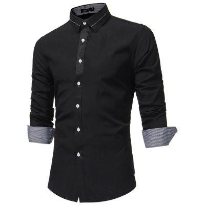 Men 'S Fashion Business Dress Long Sleeve Shirt Male Solid Color Wild Slim Shirt 7685