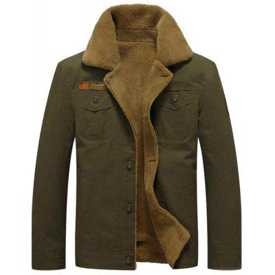 Men's Casual Daily Simple Fall Winter Fleece Jacket Solid Stand Long Sleeve Coat