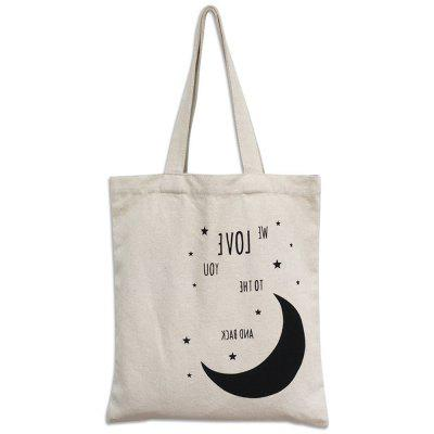 Women Canvas Tote Bag Concise Letter Printing Shoulder Cloth