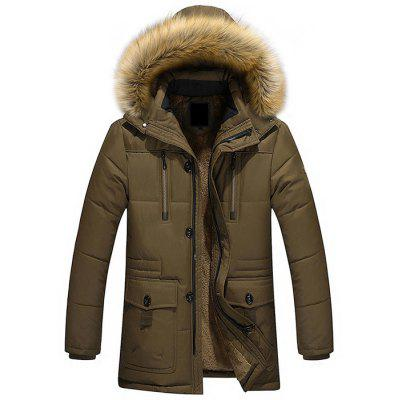 Men Quilted Coat Long Sleeve Casual Outdoor Hooded Zipper