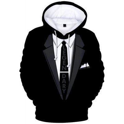 Stylish 3D Suit Pattern Print Long Sleeve Hoodie