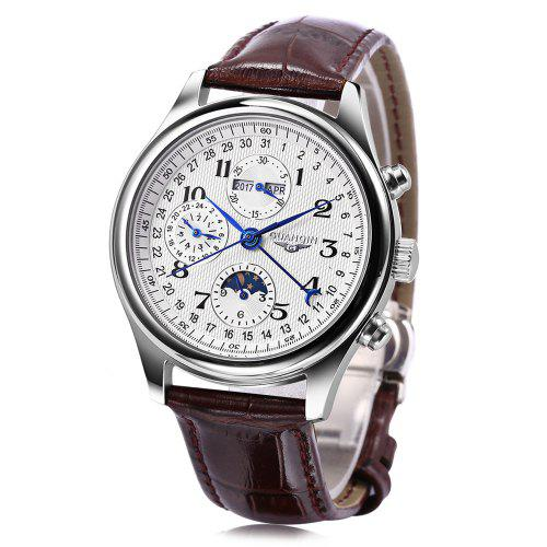 GUANQIN GQ20022 Male Auto Mechanical Watch – Brown 200921701, Moon Phase Calendar 24 Hours System Men Wristwatch | Warehouse: HK-4