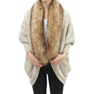 Large-Size Knitted Cardigan with Bat Sleeves and Fur Collar