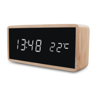 Bamboo Wooden Alarm Clock LED Display with Mirror Temperature Digital Watch