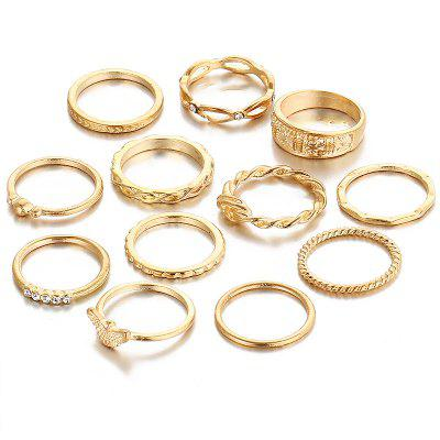 Diamond Winding Knotting Engraving 12 Sets of Rings
