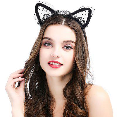 New Black Cat Earband Headband Fabric Hair Accessories