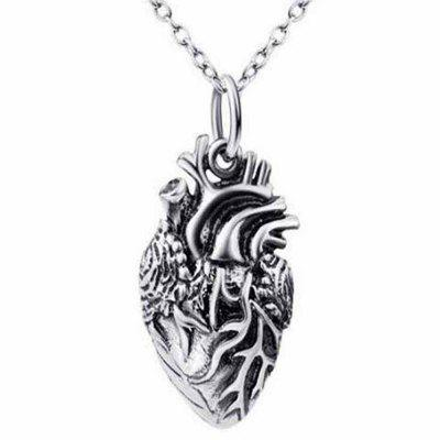 Punk Gothic Human Anatomical Heart Small Pendant Necklace Men and Women Hearts