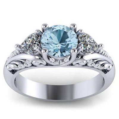Sterling Silver Round Cut Aquamarine Floral Engagement Promise Ring