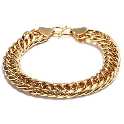 Stylish 24K Plated Gold Color Simple Twisted Chain Bracelet for Men