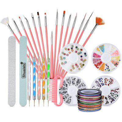 Nail Art Brushes Frosted Files Striping Tapes Drill Point Pens Glitter Rhinestones