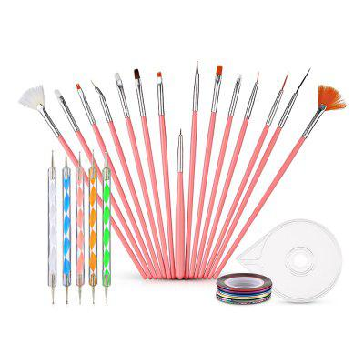 Nail Art Brushes Drill Point Pens Striping Tapes with Holder