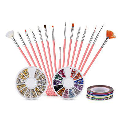 Nail Art Brushes Striping Tapes Glitter Rhinestones