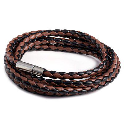 Men with Magnet Clasp PU Woven Multi-Layer Paragraph Accessories Punk Leather Bracelet