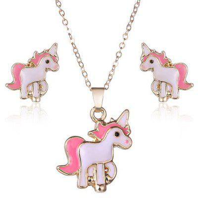Pink Unicorn Necklace Earrings
