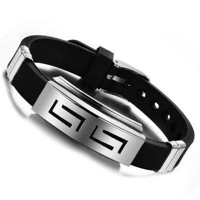 Modelos Fashion Wristband Black Punk Rubber Silicone Stainless Steel Men Braceletes Bangles
