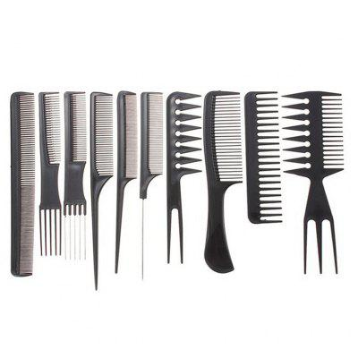 10PCS/LOT Black Makeup Comb Set Styling Hairdressing Comb