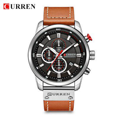 Curren 8291 Herren Quarzuhr Lederband Business Armbanduhr