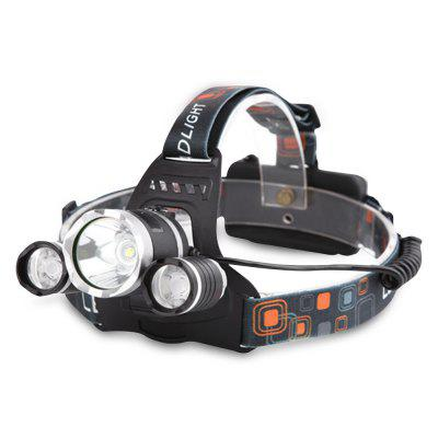 Aluminium Alloy 3 LED Head Lamp Highlight Adjustable Rechargeable 4 Mode