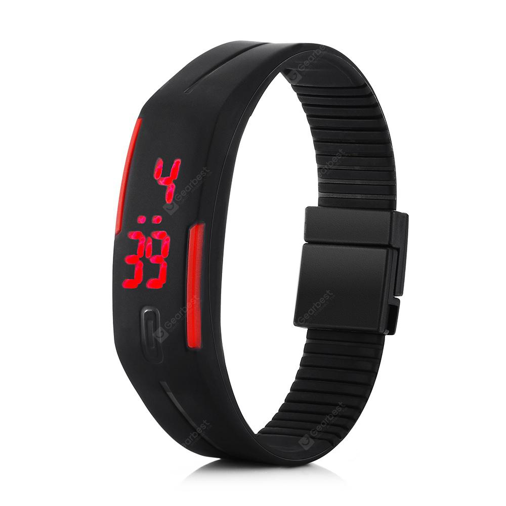 LED Watch Date Red Digital Rectangle Dial Rubber Band | Gearbest