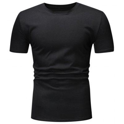 Men T-shirt Casual 100% Cotton Round Neck Solid Color Basic Style Top