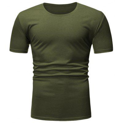 Men T-shirt Casual Round Neck Solid Color Basic Style Top