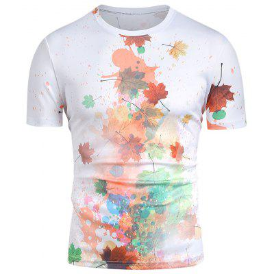 Men T-shirt Round Neck Abstract Painting Maple Leaf Top