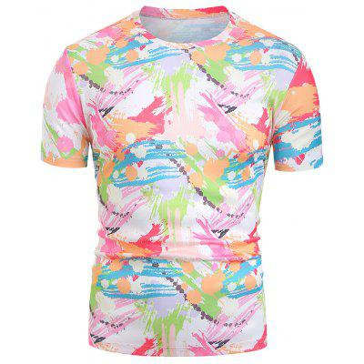 Brushed Paint Splash Print Men T-shirt Round Neck Short Sleeves