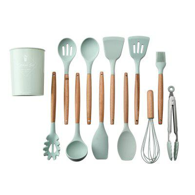 Household Silicone Wooden Cooking Utensil Kitchen Accessories Set