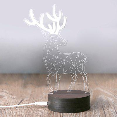 3D LED Geometric Elk Night Light USB Warm Table Lamp