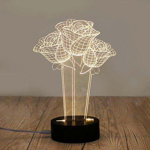 3D LED table lamp night light Acrylic warm white USB powered with switch 5V 3W