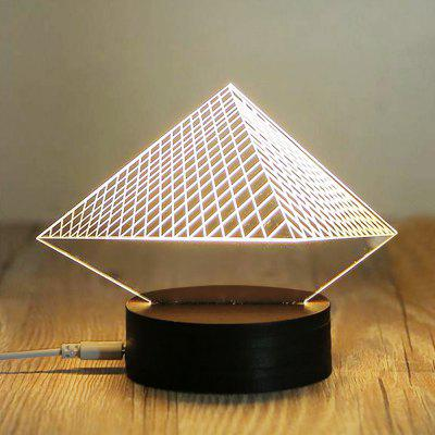 USB 5V Warm LED Beech Base 3D Pyramid Design Acrylic Night Light