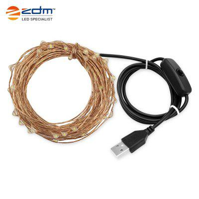 ZDM 10M 100 Bead 3W USB Copper Wire Warm Cold Colorful Light String with Switch