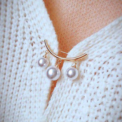 Pearl Brooch Simple Cardigan Anti-Wear Pin Fashion Accessories