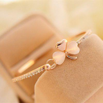 Fashion Jewelry Clover Shape Cat Eye Drill Bangles Bracelet