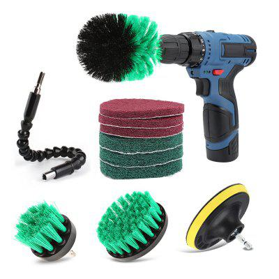 11pcs Drill Brush Scouring Pad Flexible Shaft Attachments for Kitchen Bathroom Cleaning