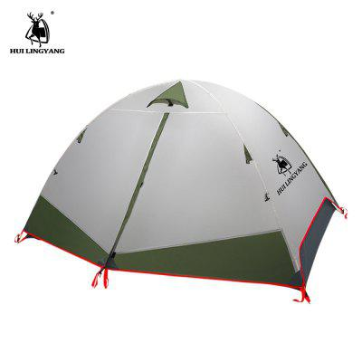 HUILINGYANG Double-layer Aluminum Rainproof Camping Tent Breathable Fabric