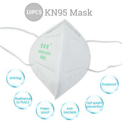 10PCS High-closed KN95 Masks Dustproof Professional Protection for Slit Splash PM2.5 Comfortable Elastic Earloop Type